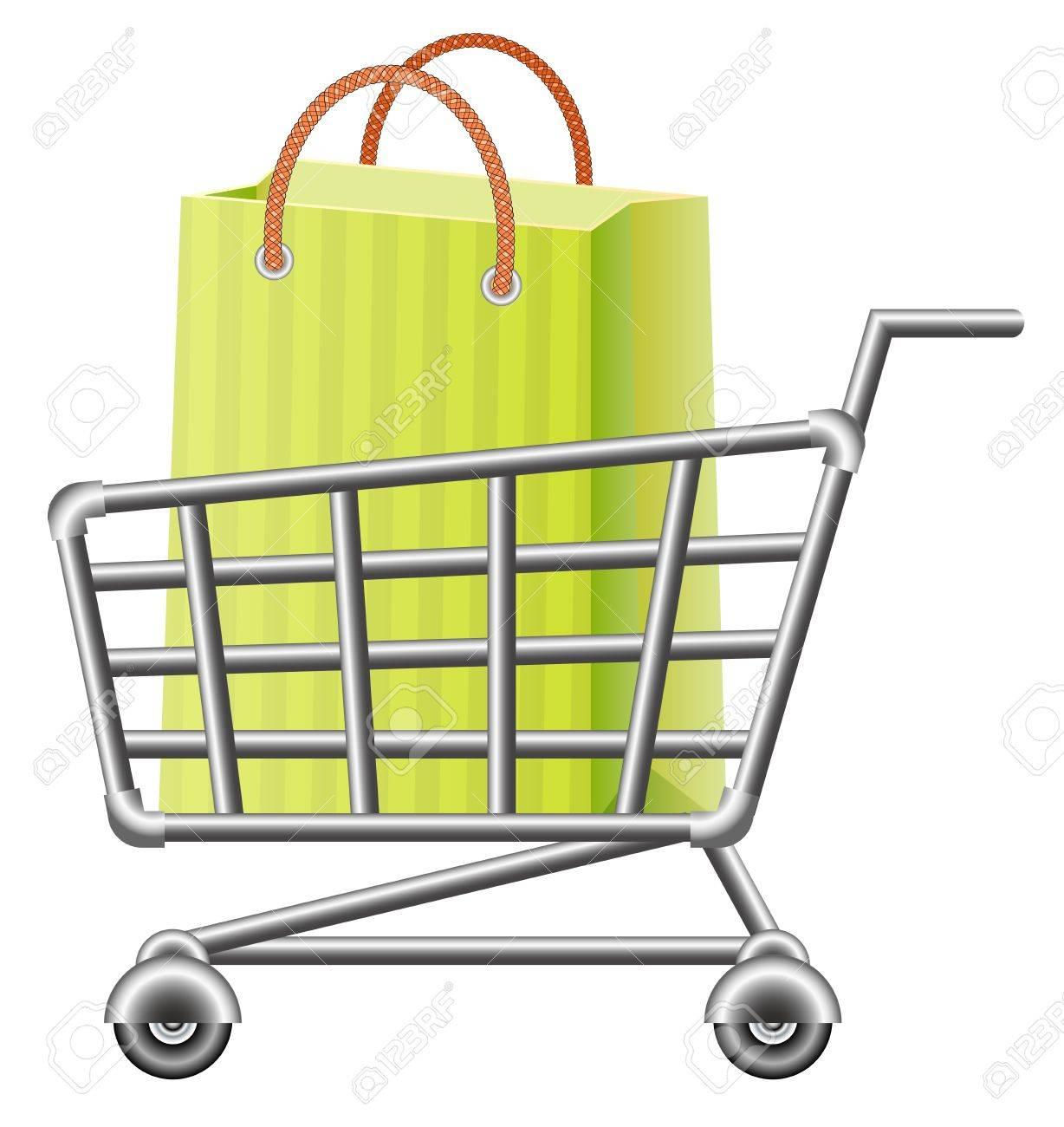Shopping Cart And Shopping Bag Royalty Free Cliparts, Vectors, And ...