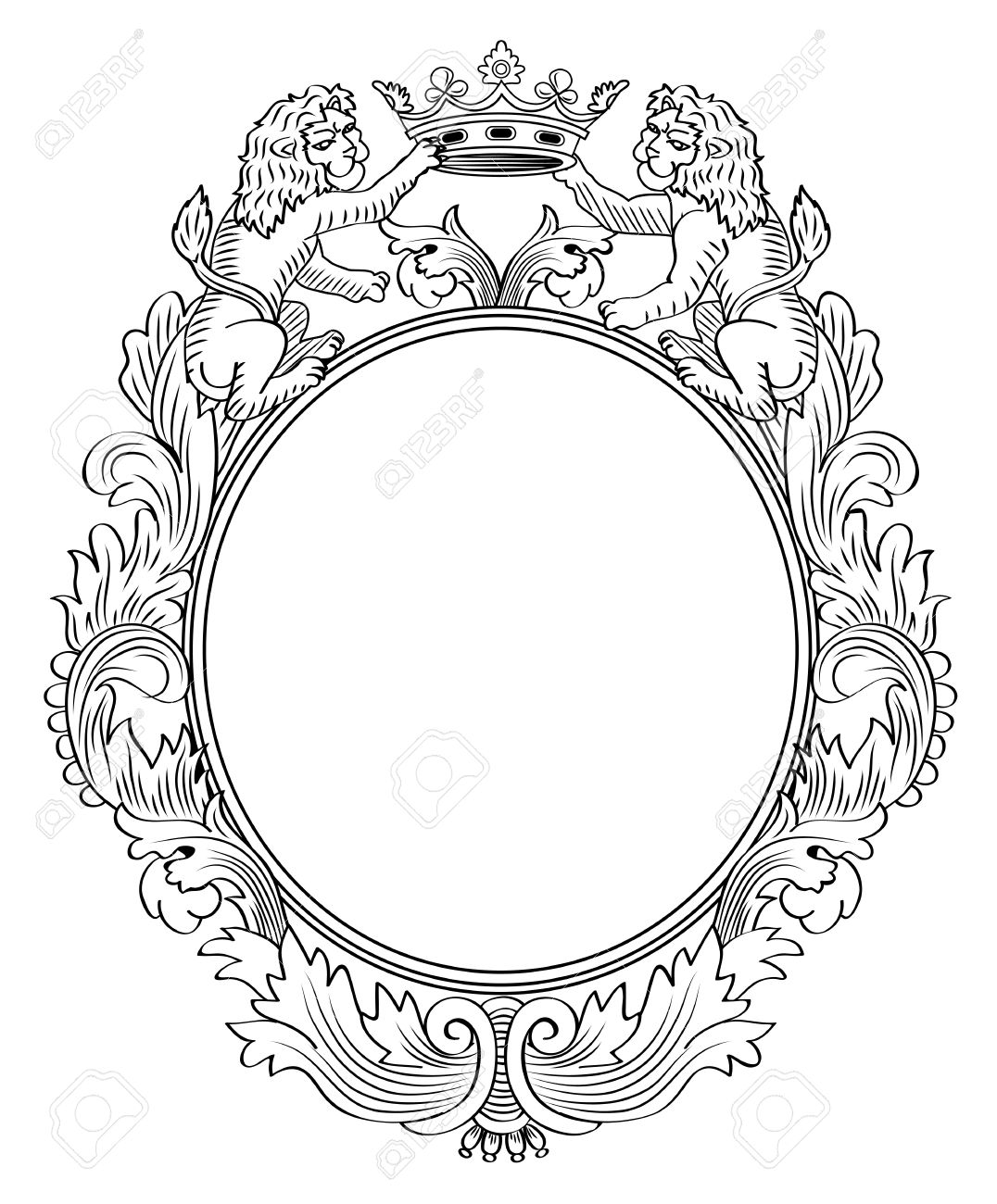 floral frame two lions and crown illustration stock vector 15677082