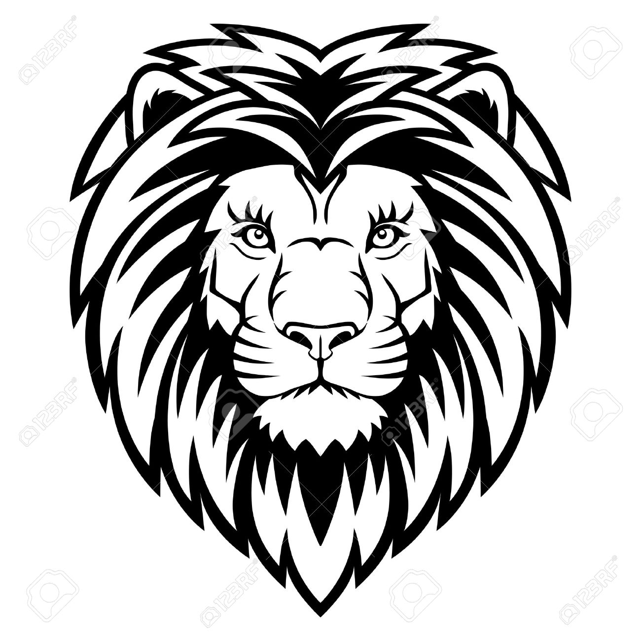 a lion head logo in black and white this is vector illustration rh 123rf com lion head logo template lion head logo clothing