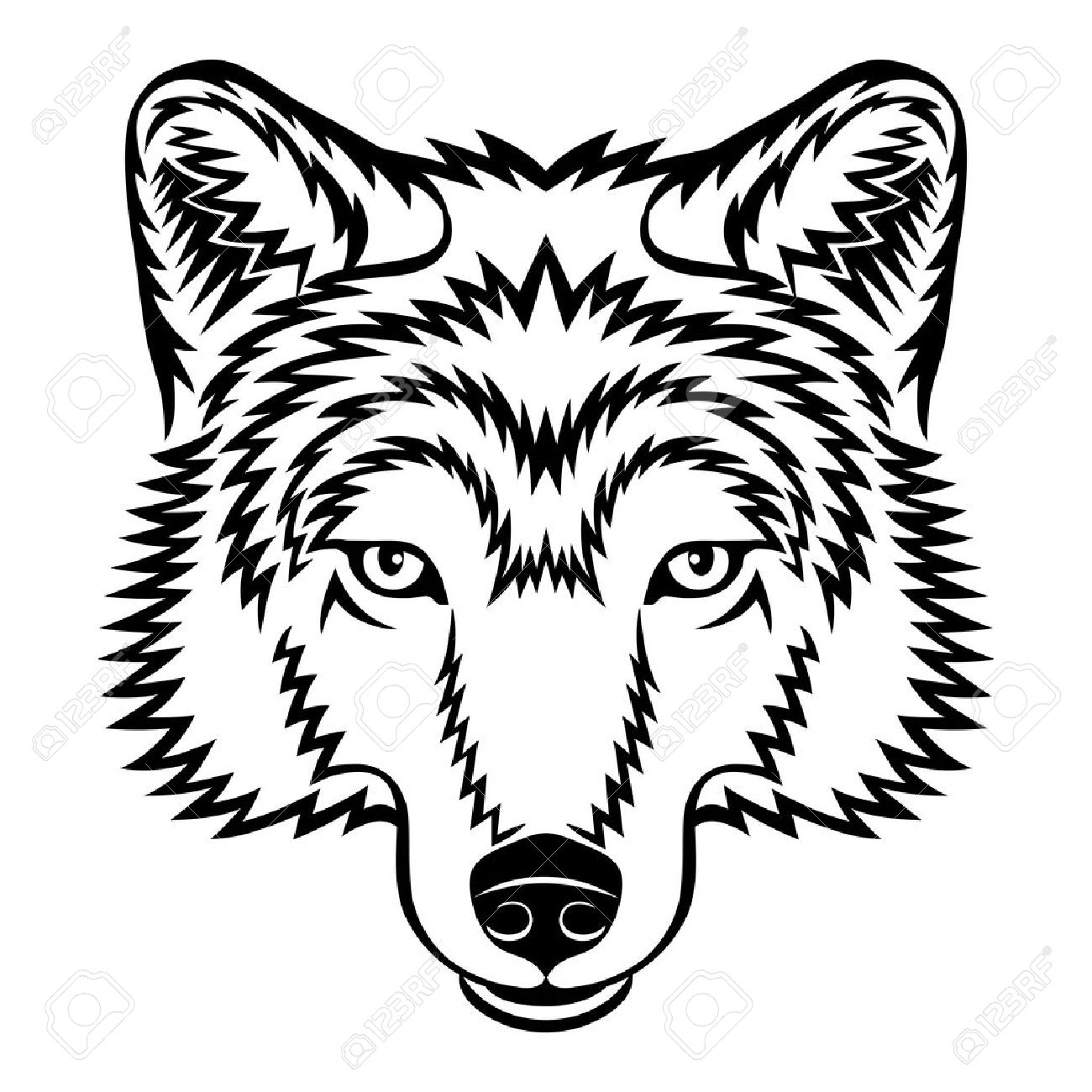 Wolf Head: A Wolf Head In Black And White