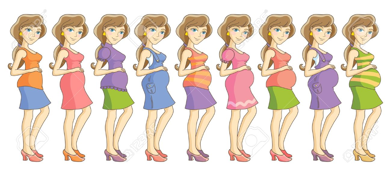 Pregnant woman in different clothes  Nine month set  Isolated vector illustration Stock Vector - 17263892