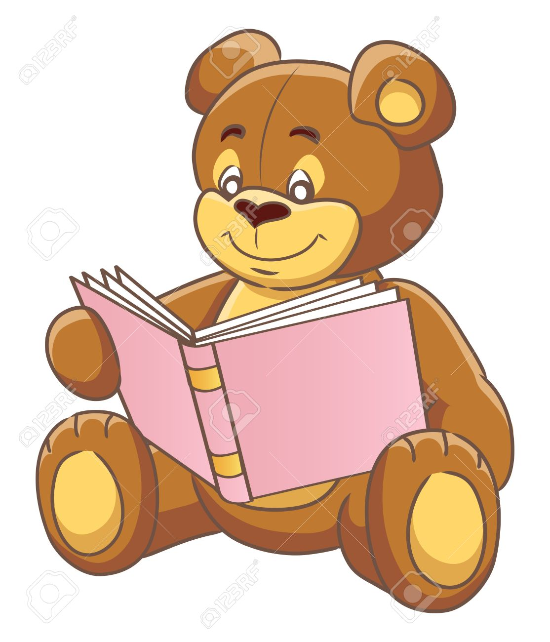 teddy bear reading a book vector illustration royalty free