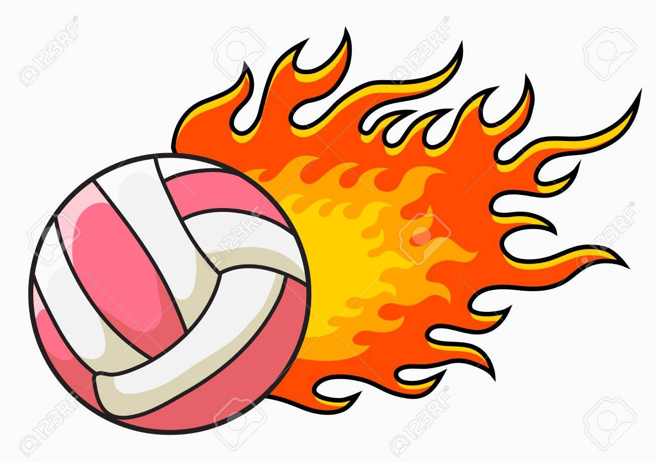 flaming volleyball vector illustration royalty free cliparts rh 123rf com free flaming volleyball clipart