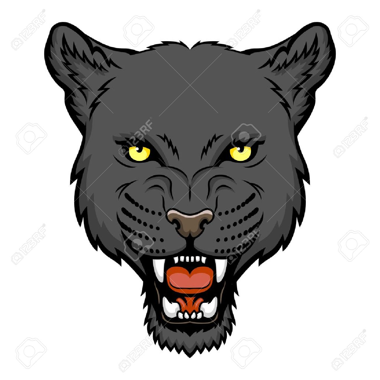 a panther head logo this is illustration ideal for a mascot rh 123rf com black panther head logo Panther Logo Designs