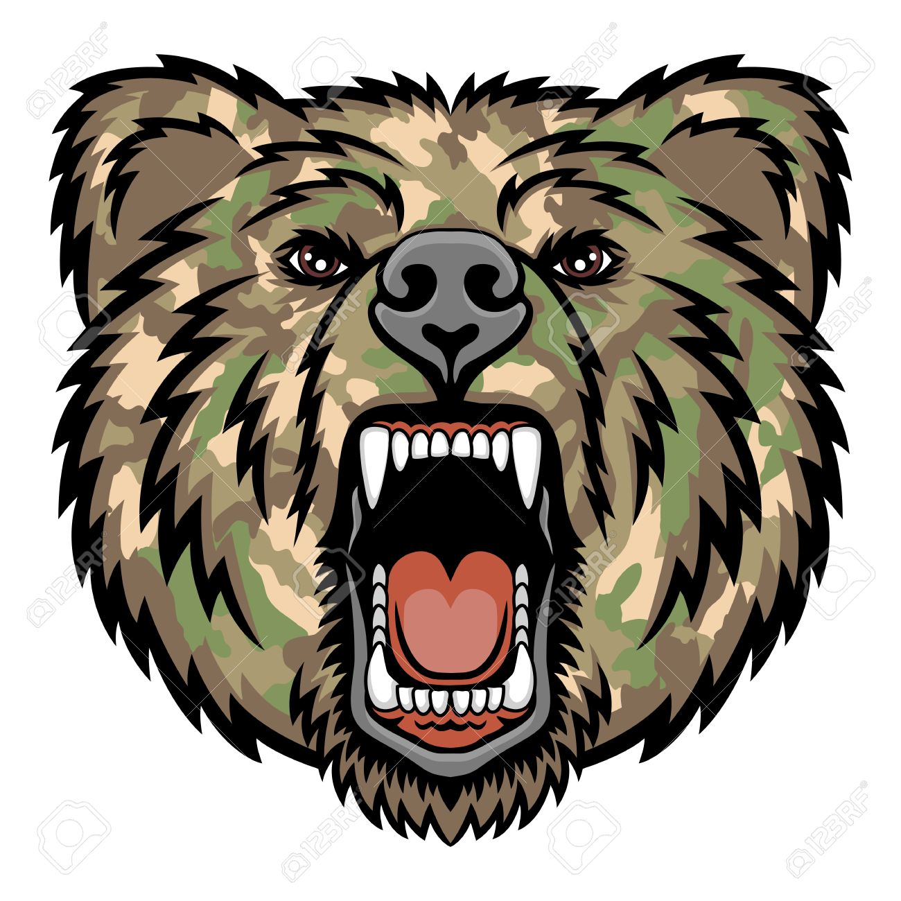 a bear head logo military style this is illustration ideal royalty