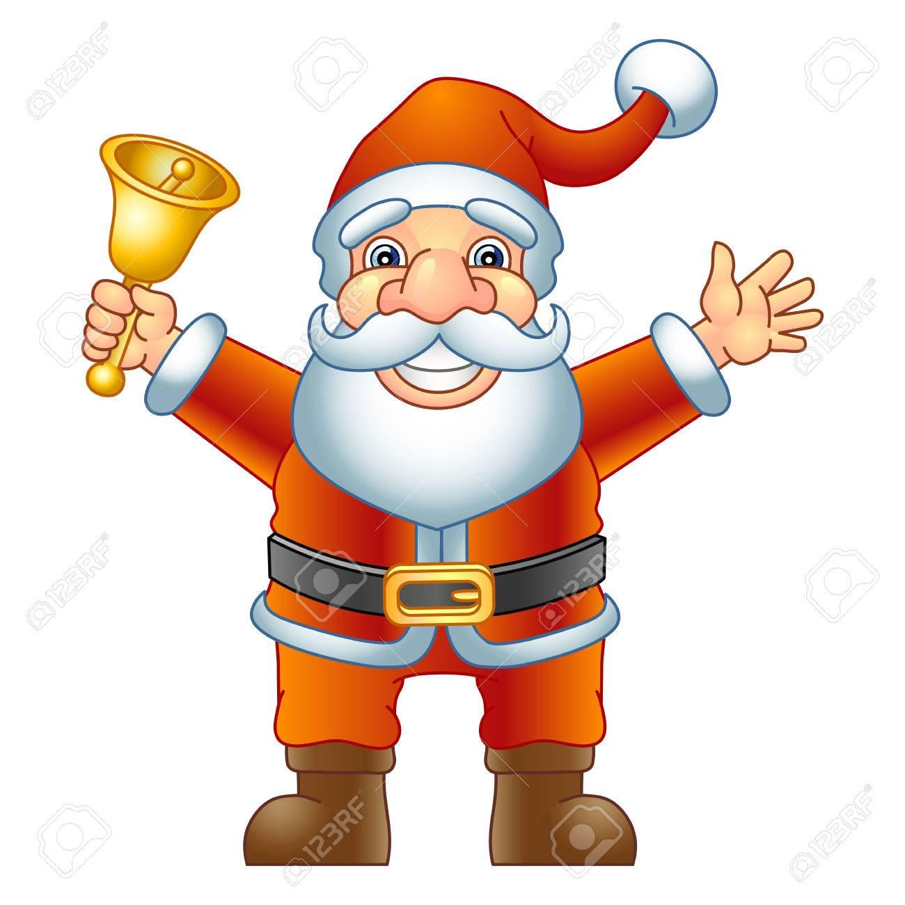 Merry Christmas, Ho-Ho-Ho  Santa Claus with a handbell  Vector illustration Stock Vector - 24908077