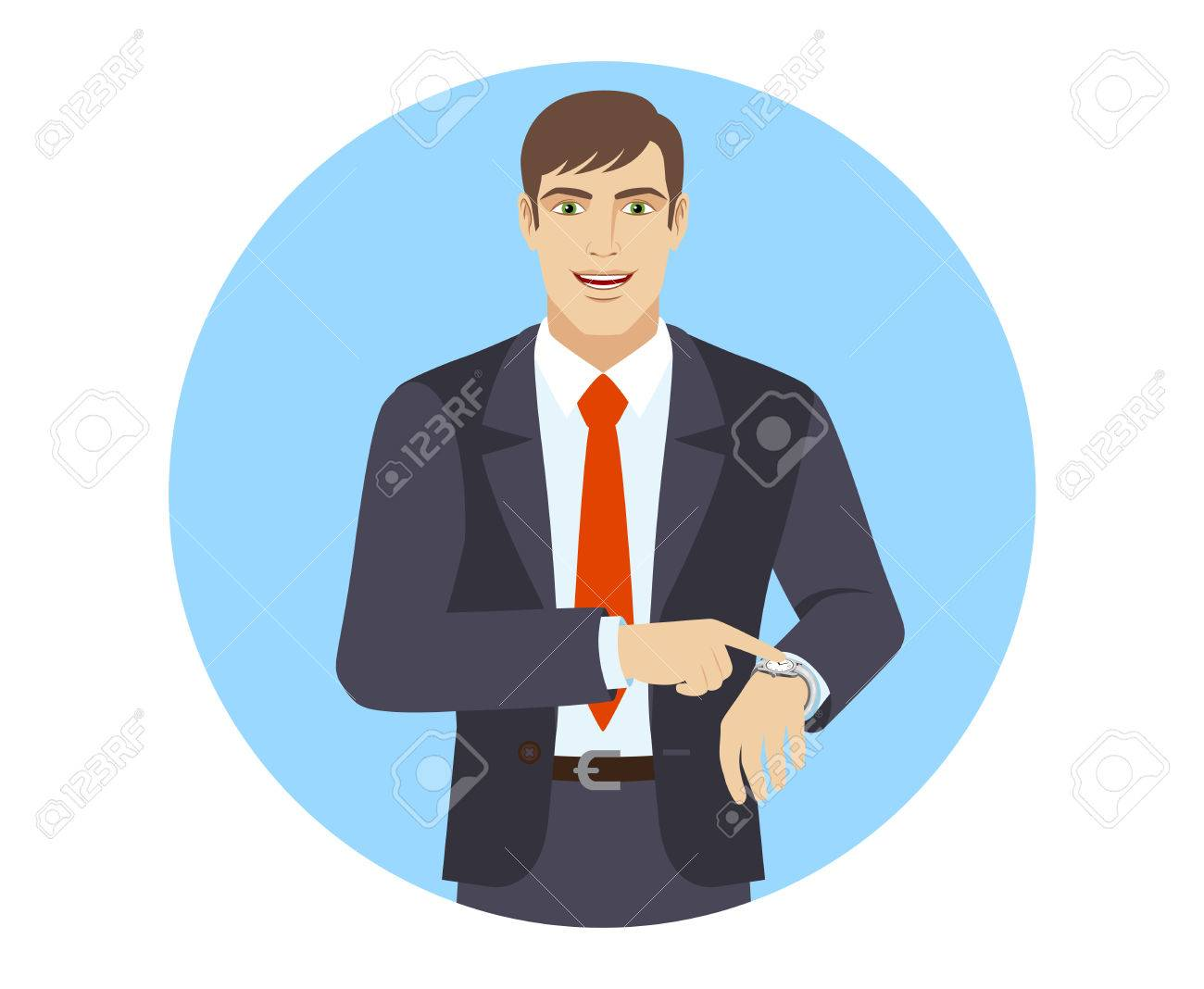 Businessman pointing at his watch. Portrait of businessman in a flat style. Vector illustration. - 70451545