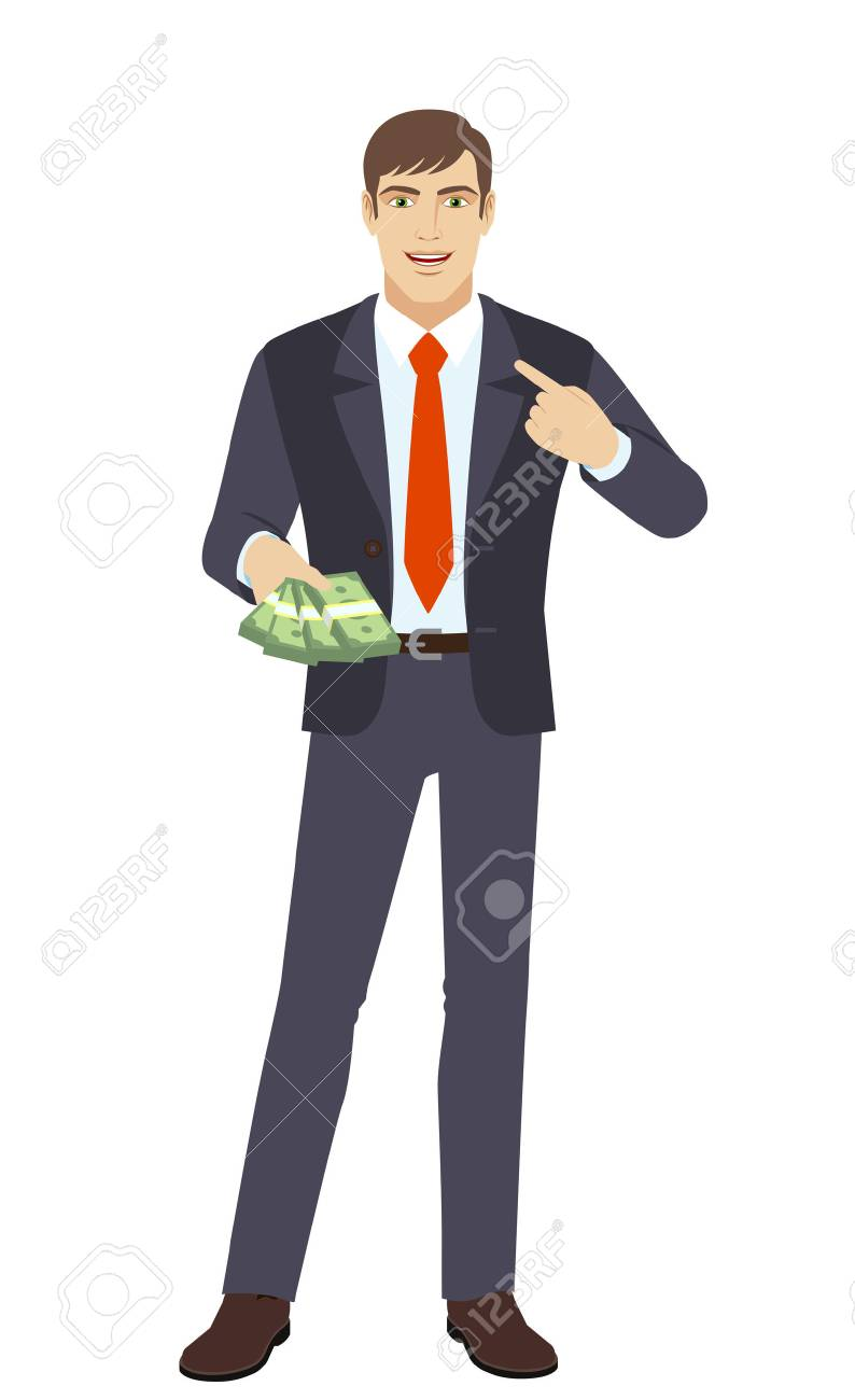 businessman with cash money pointing the finger at yourself