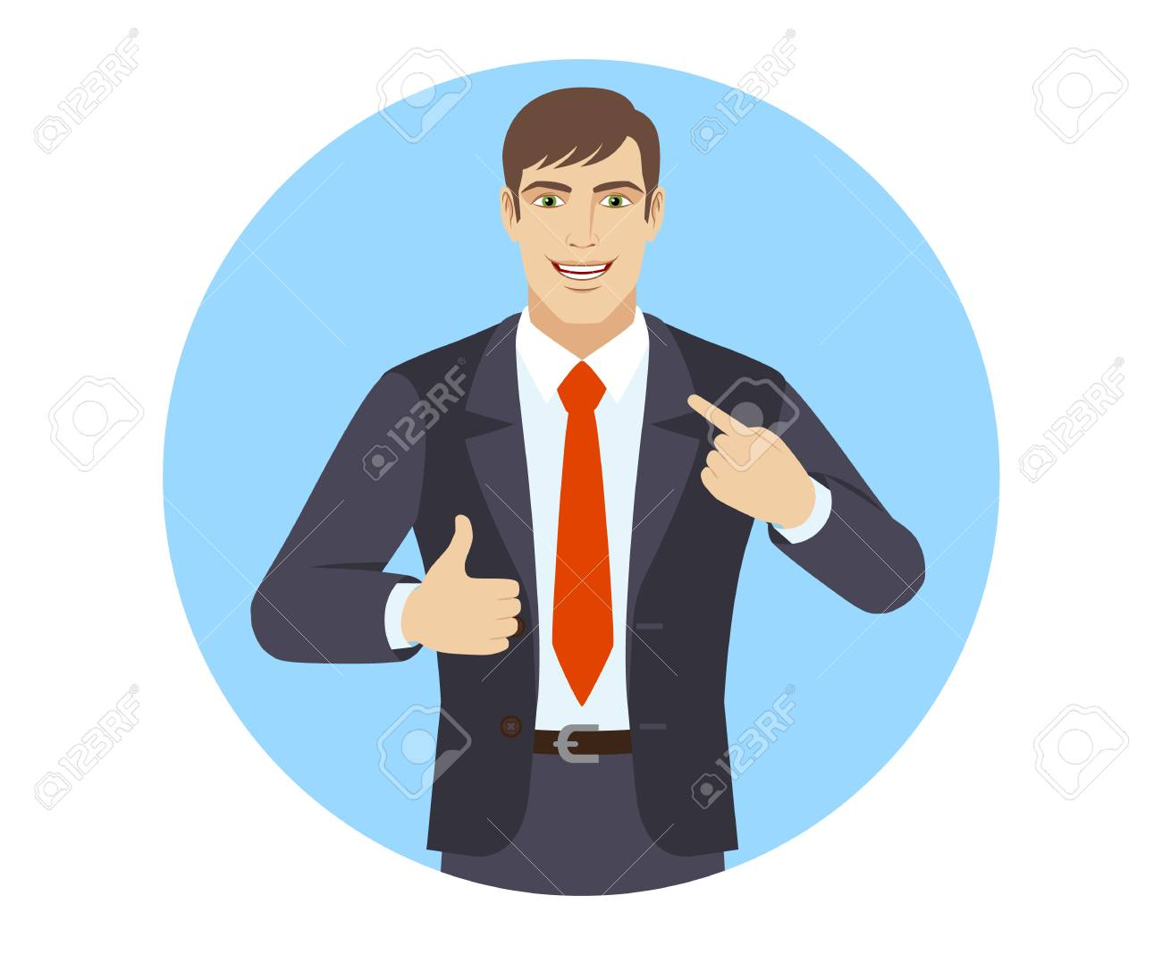 self promotion businessman pointing the finger at himself and