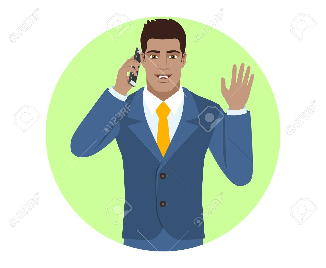 Businessman talking on the mobile phone and greeting someone businessman talking on the mobile phone and greeting someone with his hand raised up portrait m4hsunfo