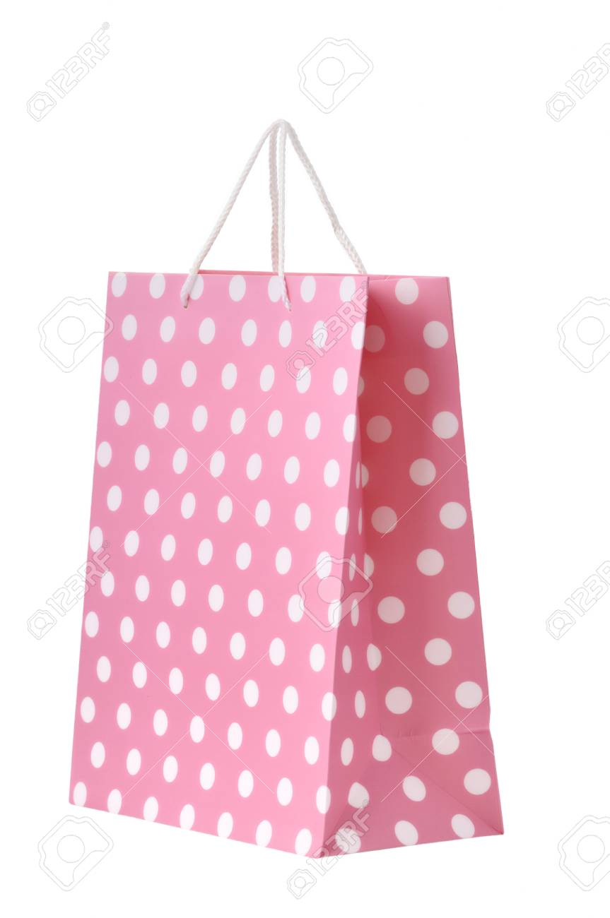 Pink shopping bag isolated on a white background Stock Photo - 12016253