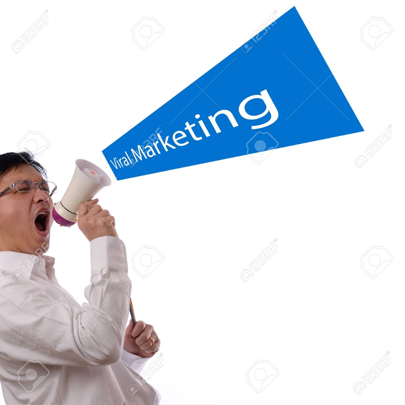 Portrait of an asian businessman using a megaphone for viral marketing design concept Stock Photo - 13854474