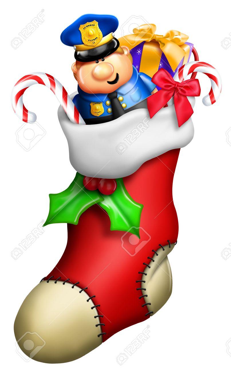 Christmas Stockings Cartoon.Cartoon Christmas Stocking For Boy With Toys