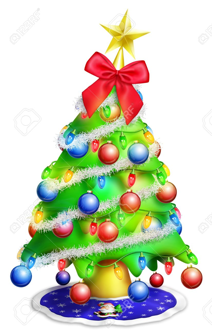 Cartoon Christmas Tree With Ornaments Stock Photo, Picture And ...