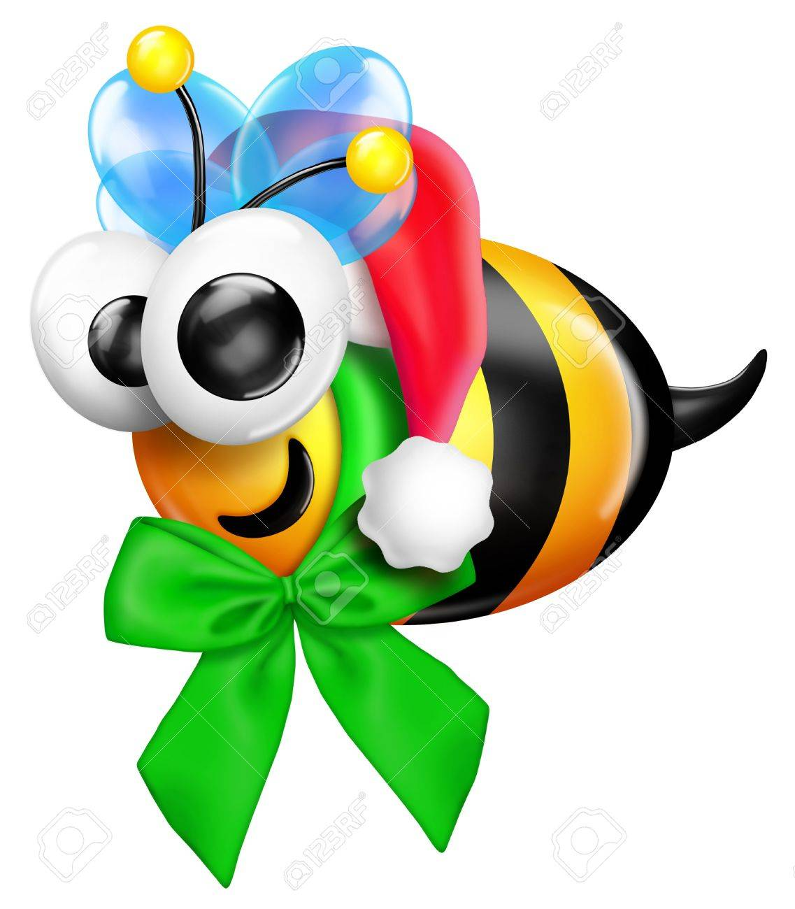 Whimsical Christmas Bee With Santa Hat Stock Photo, Picture And ...