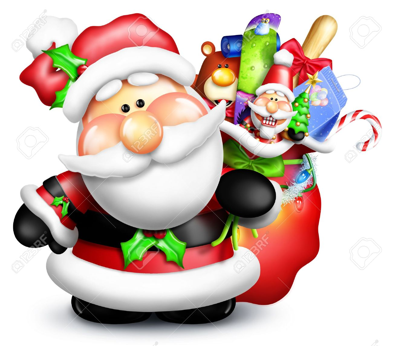 Whimsical Cartoon Santa with Gift Bag and Toys Stock Photo - 14963846