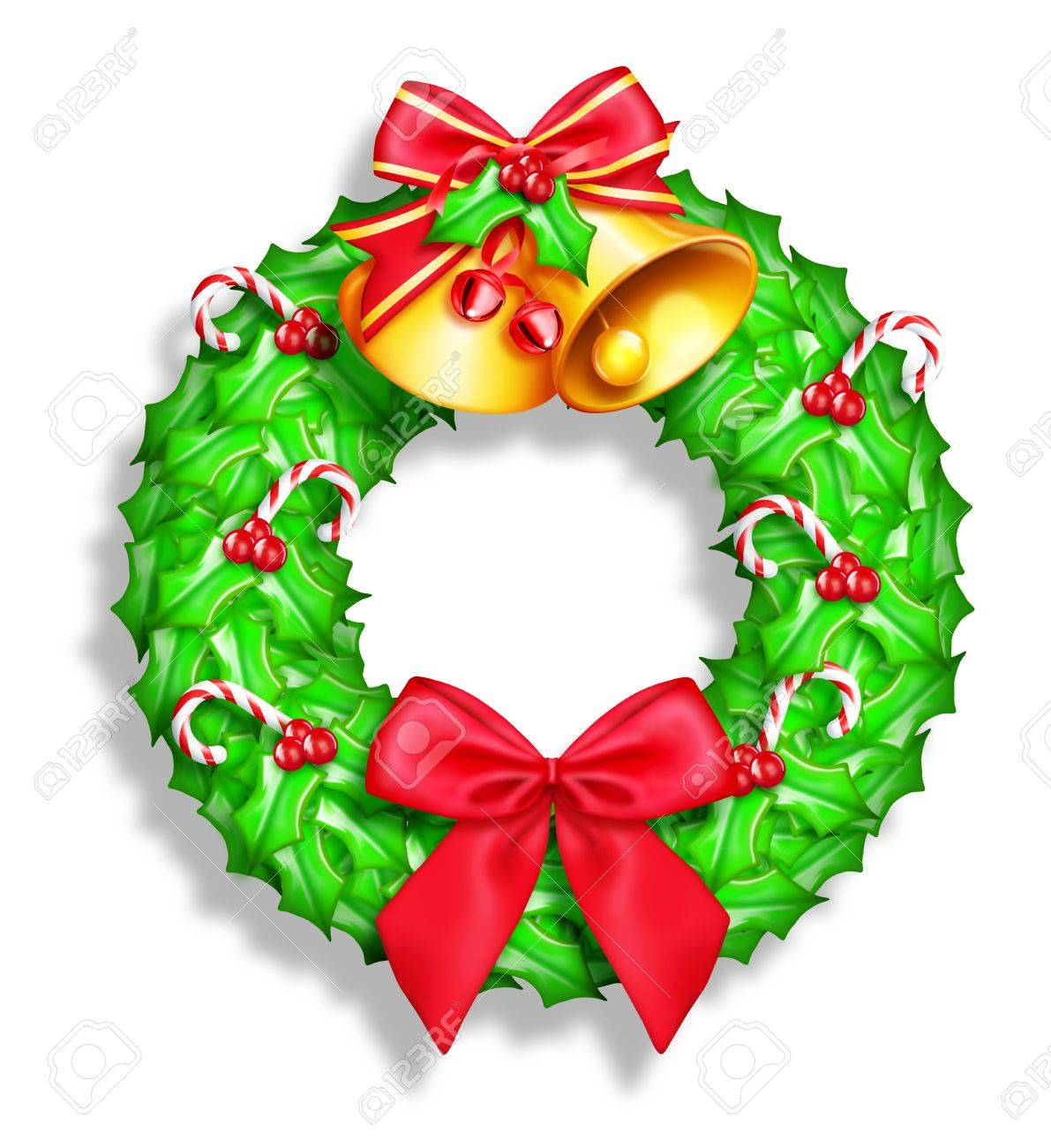 Whimsical Cartoon Christmas Wreath Stock Photo Picture And Royalty