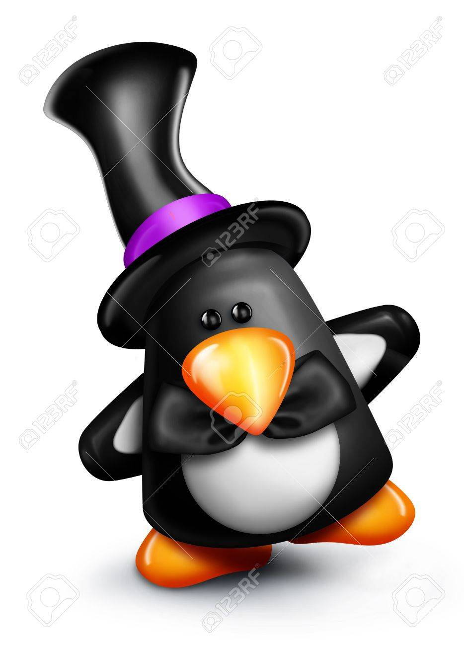 Whimsical Cartoon Penguin in Top Hat Stock Photo - 15242146