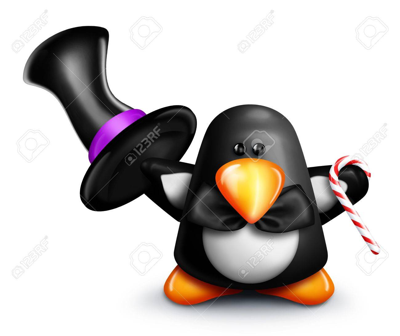 Whimsical Cartoon Penguin Tipping Top Hat Stock Photo - 15242154