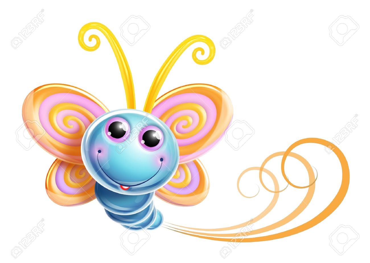 Whimsical Kawaii Cute Cartoon Butterfly Stock Photo, Picture And ...