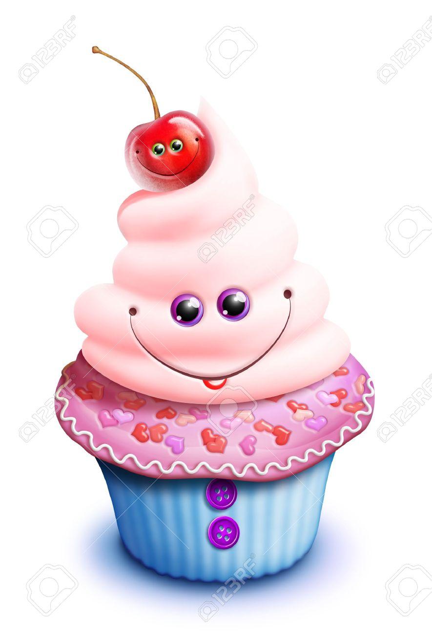 whimsical kawaii cute cartoon cupcake with cherry banco de imagens