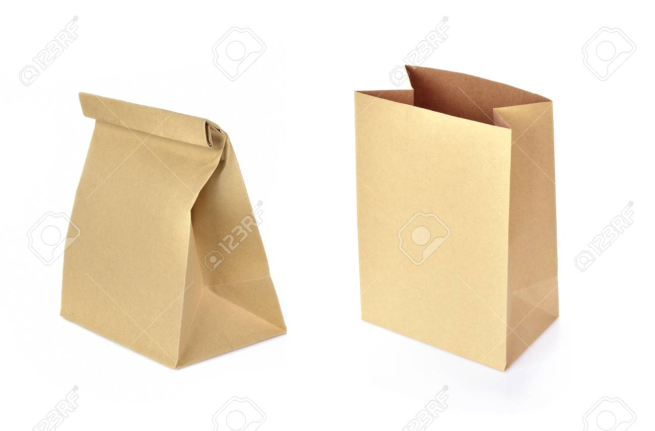 paper bag isolated on white background - 126961990