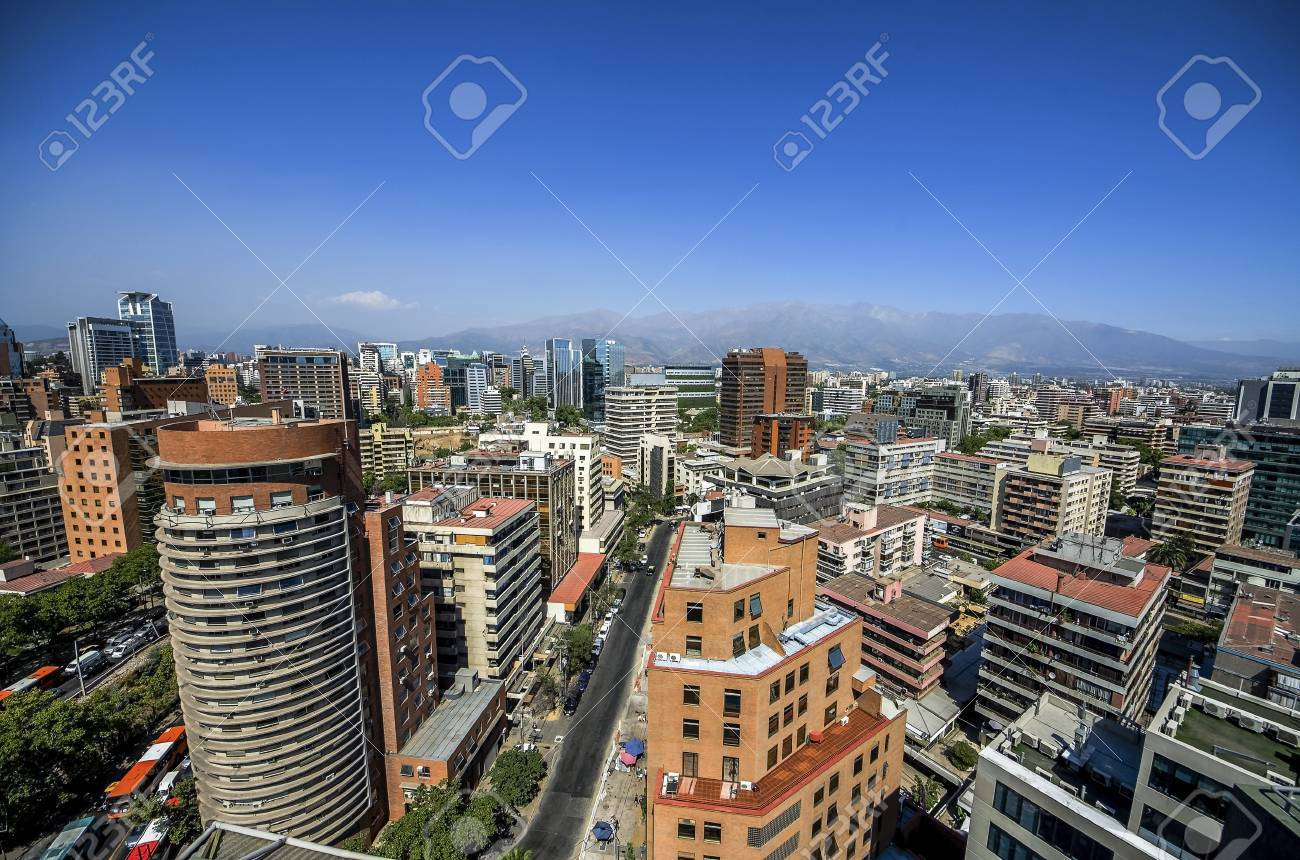 Modern Apartment Buildings And Flats In Downtown Santiago, Chile ...