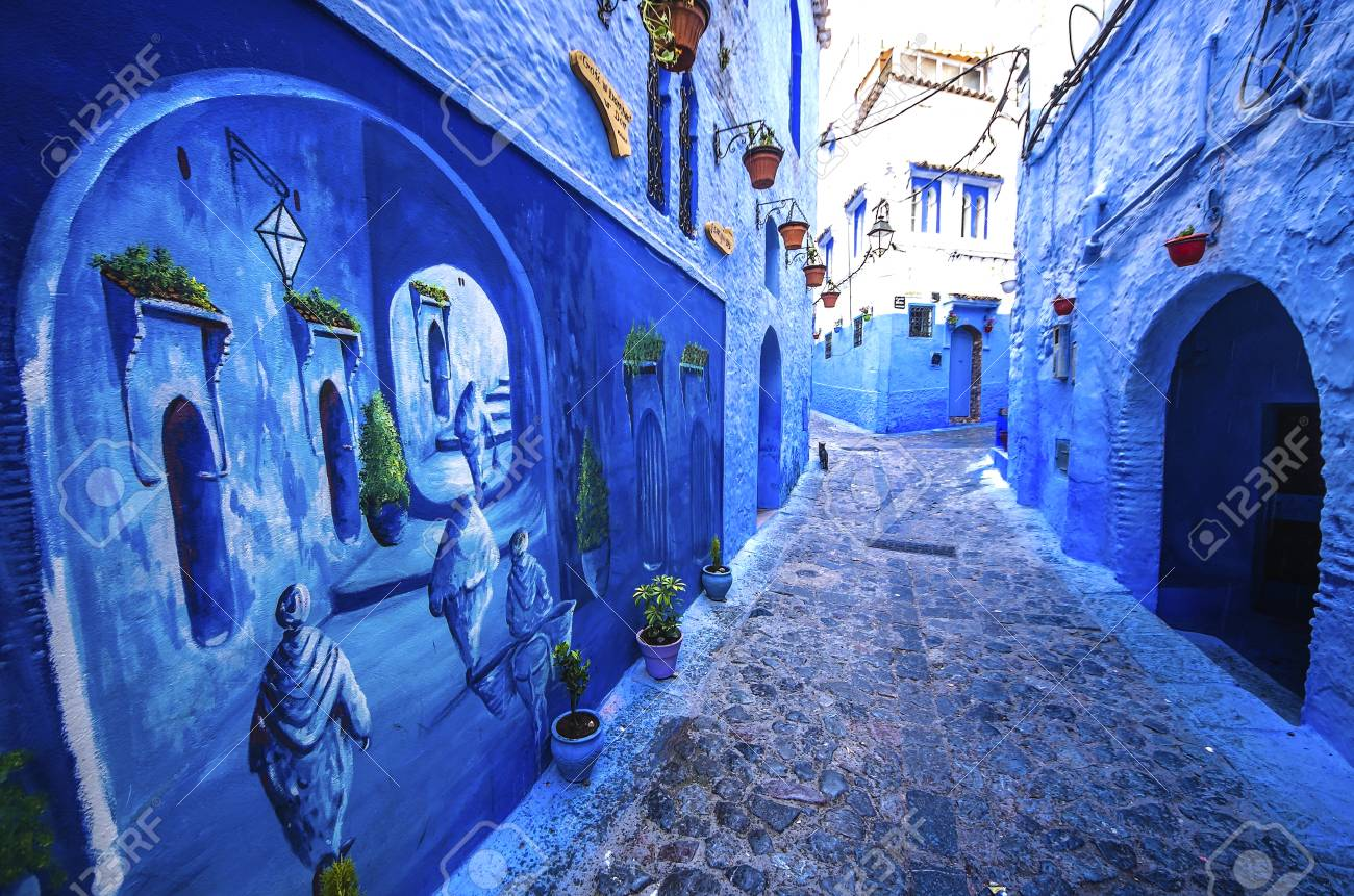 Traditional Blue Berber Houses In Chefchaouen, Morocco ...