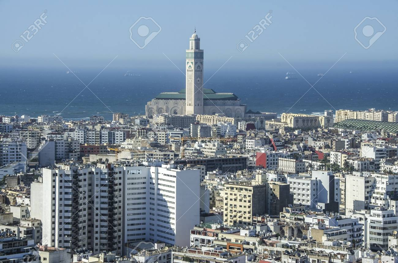 Casablanca, Morocco. Africa. Panoramic view of white city in Marocco
