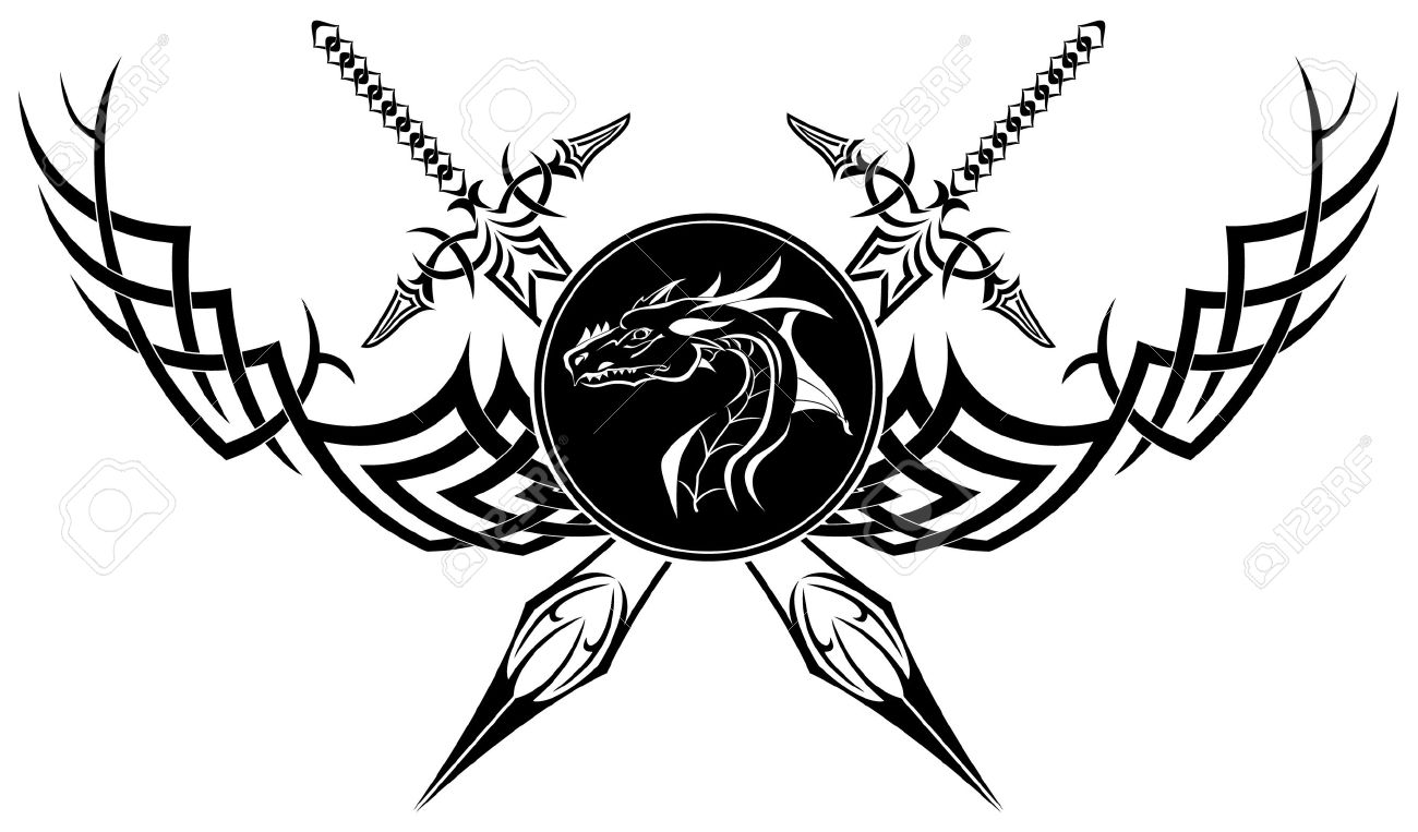 The image is black a white symbol in the form of swords of a the image is black a white symbol in the form of swords of a dragon and buycottarizona Gallery