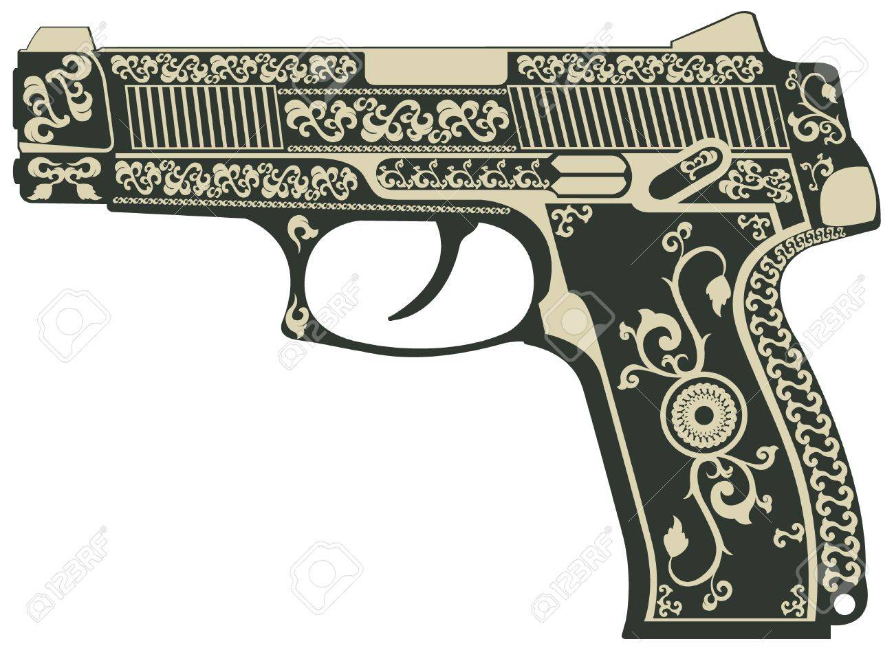 The vector image of Pistol with a pattern Stock Vector - 13995331