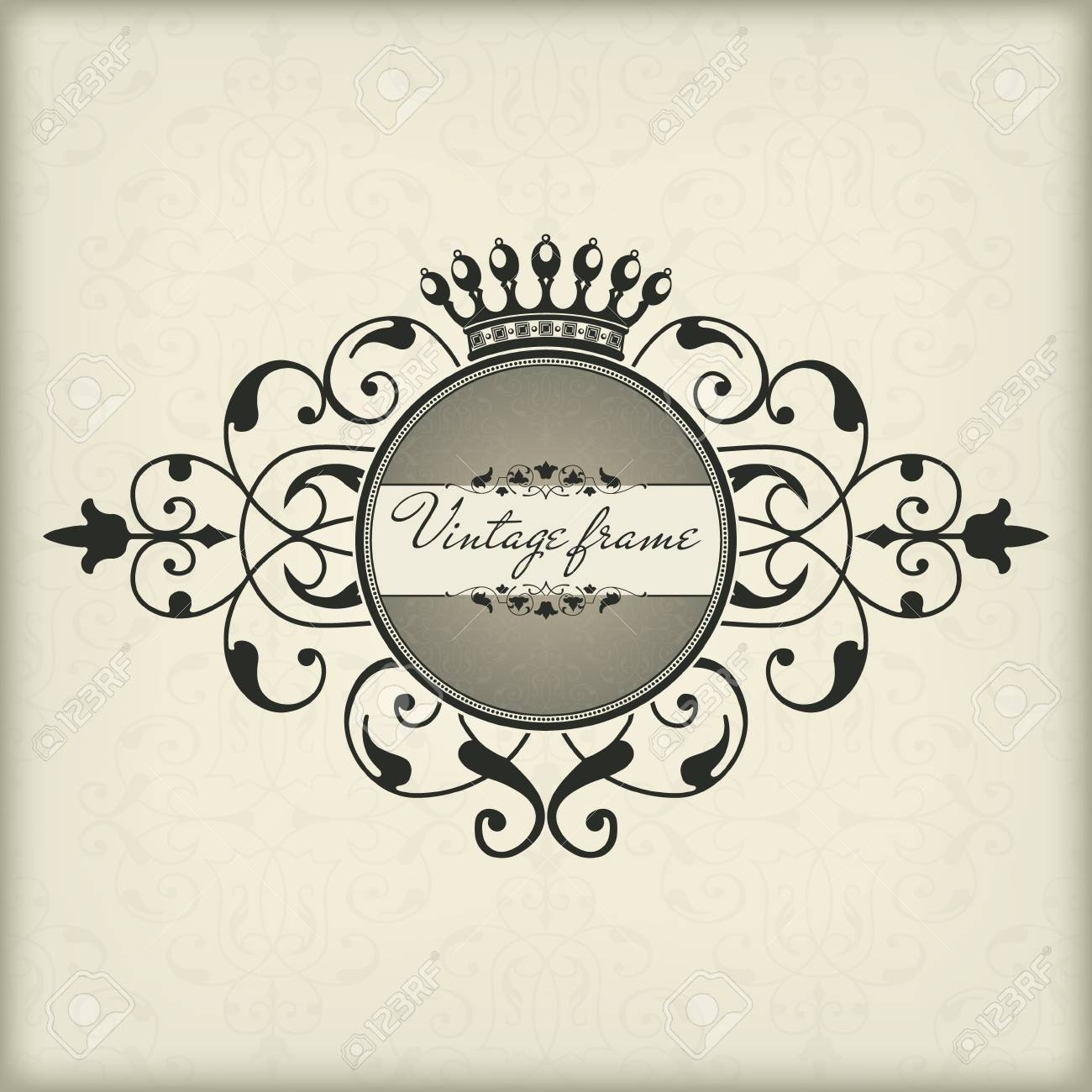 The  image Vintage frame with crown Stock Vector - 14836233