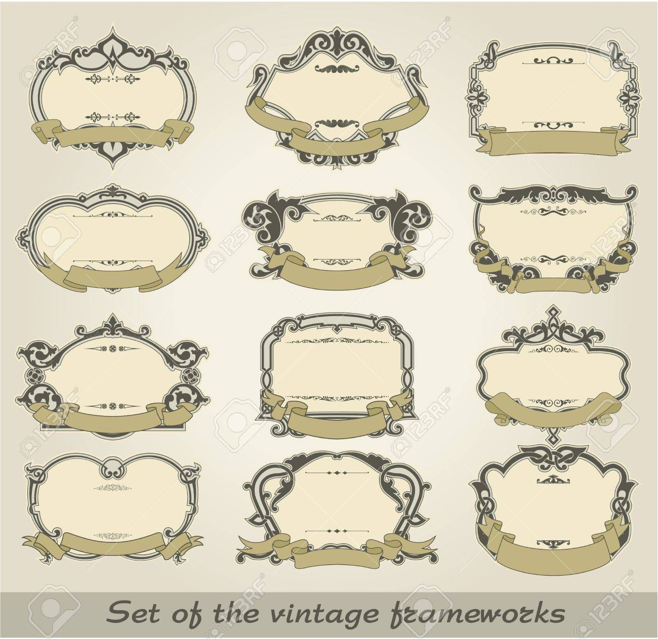 The image of color Set of the vintage frameworks Stock Vector - 15483519