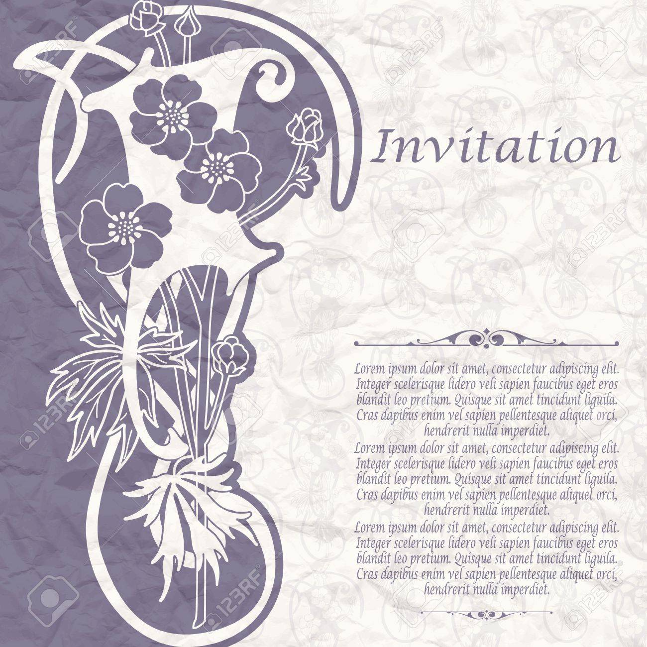 Vintage background for the invitation with flowers Stock Vector - 18435225