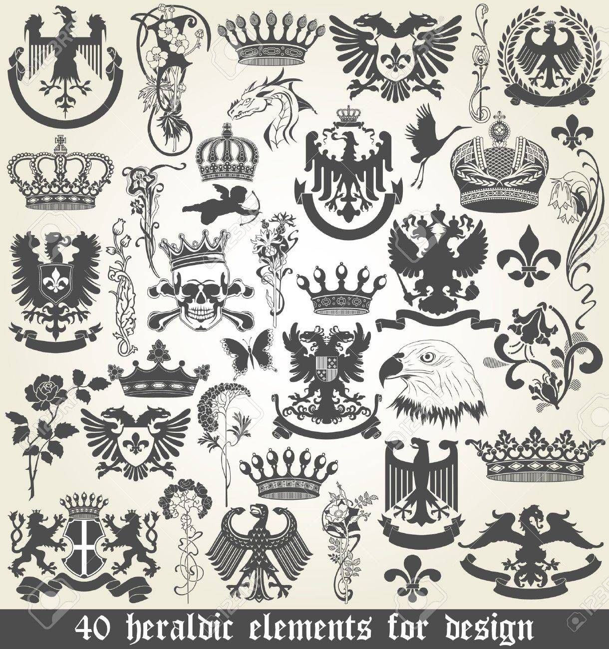 The vector image of Set of heraldic elements for design Stock Vector - 19113612