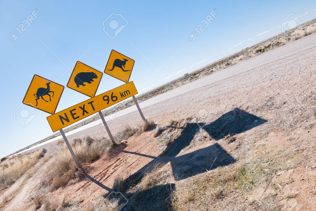 Typical Australian roadsign with Camel, Wombat and Kangaroo at Nullarbor Plain, Australia Stock Photo - 16658466
