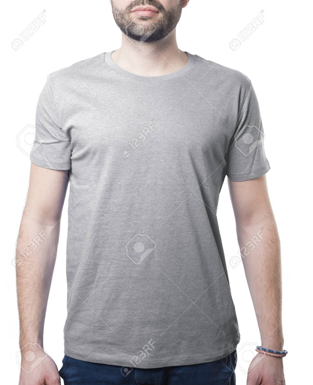 Grey Tshirt Template Of Man Waring Blank Classic Shirt Isolated