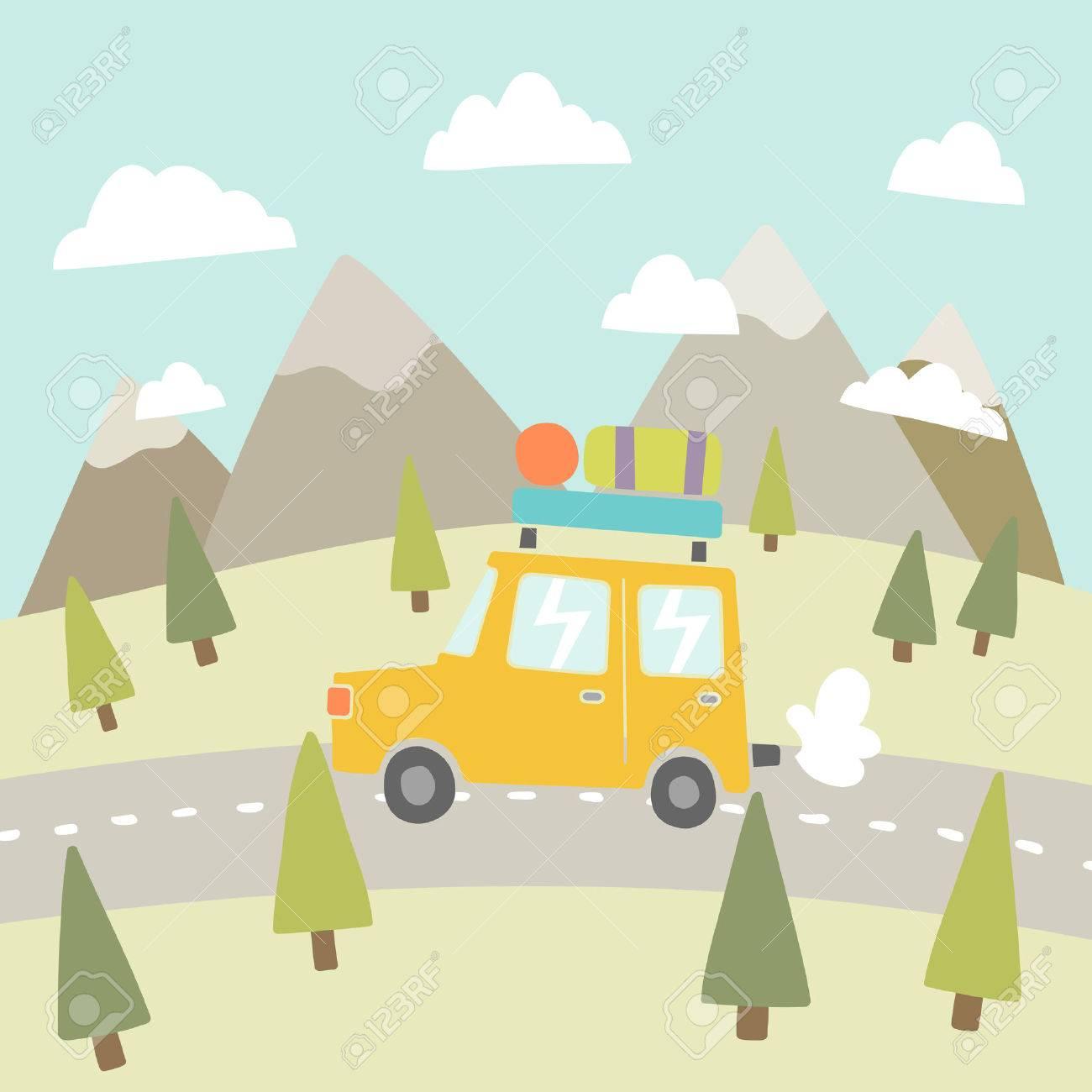 Road trip. Mountain landscape. Vector EPS 10 hand drawn illustration - 34013955