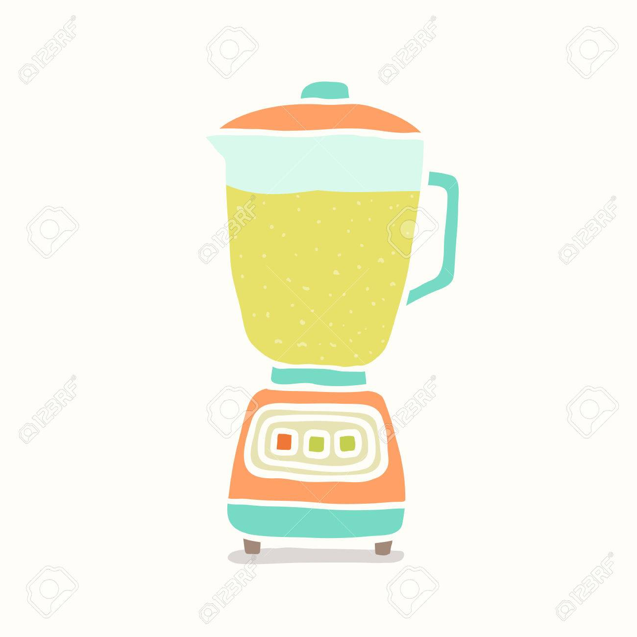 Blender making fruit smoothie. Vector EPS 10 hand drawn illustration - 34014557