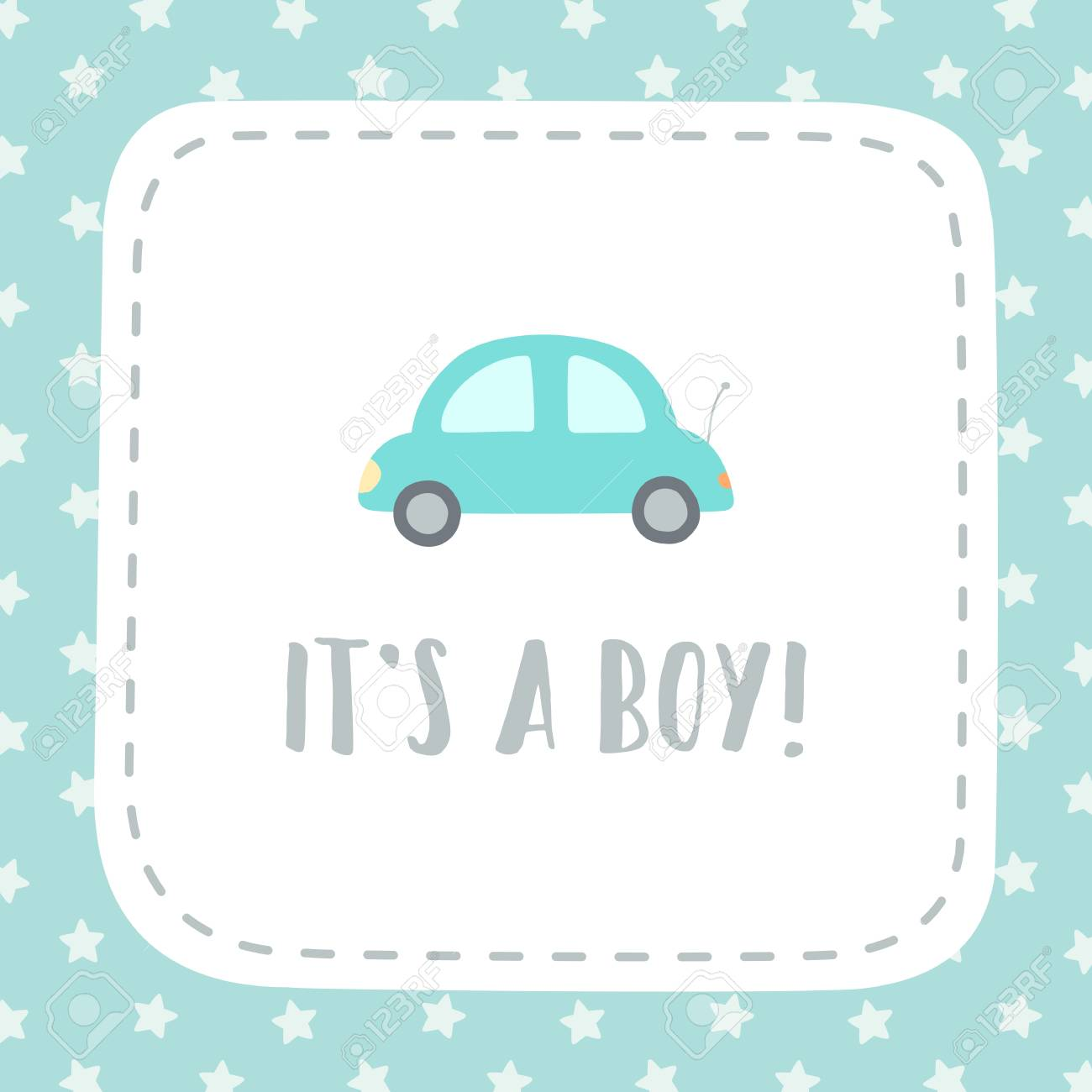 its a boy vector hand drawn giftcard template royalty free cliparts