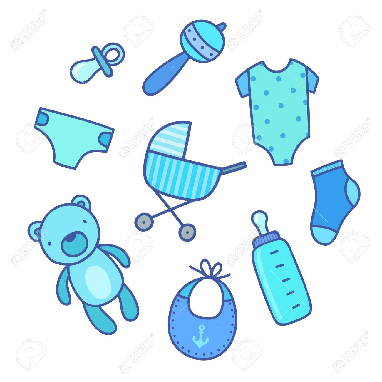 7302c34a8 Baby Boy Things. Vector Hand Drawn Illustration Royalty Free ...