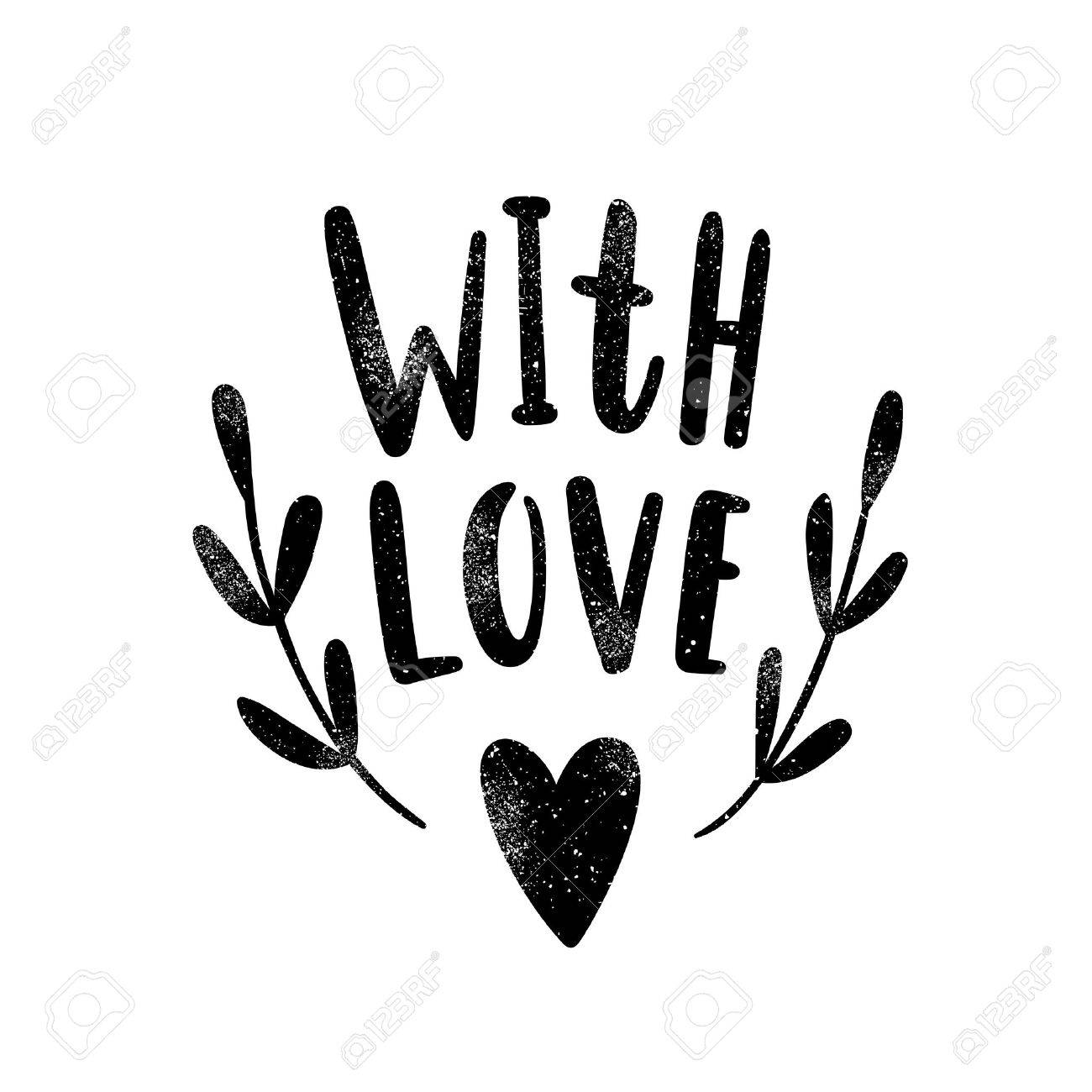 With love black silhouette vector hand drawn illustration stock illustration 70808107