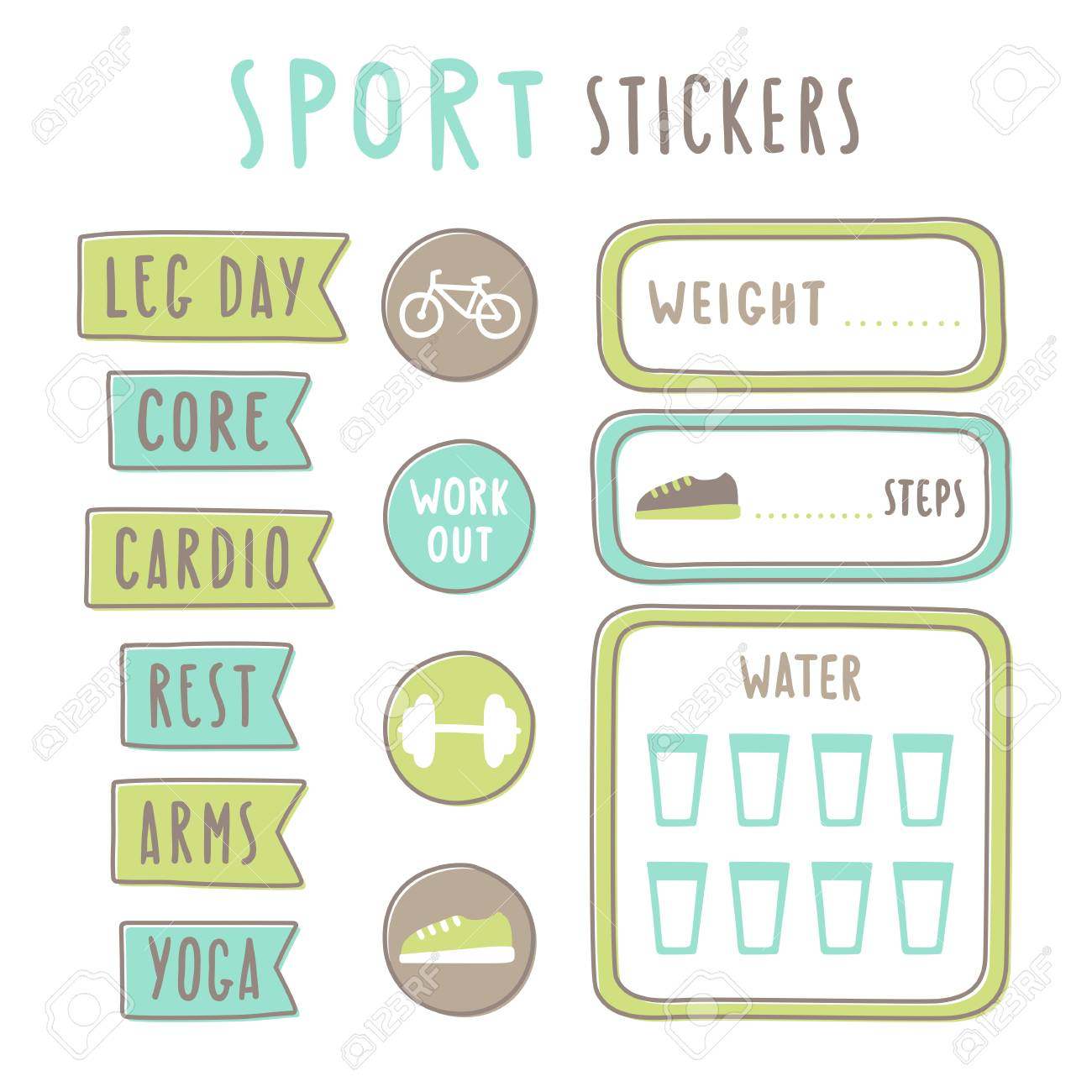 image about Fitness Planner Printable referred to as Fixed of physical fitness building stickers. Printable. Vector hand drawn..