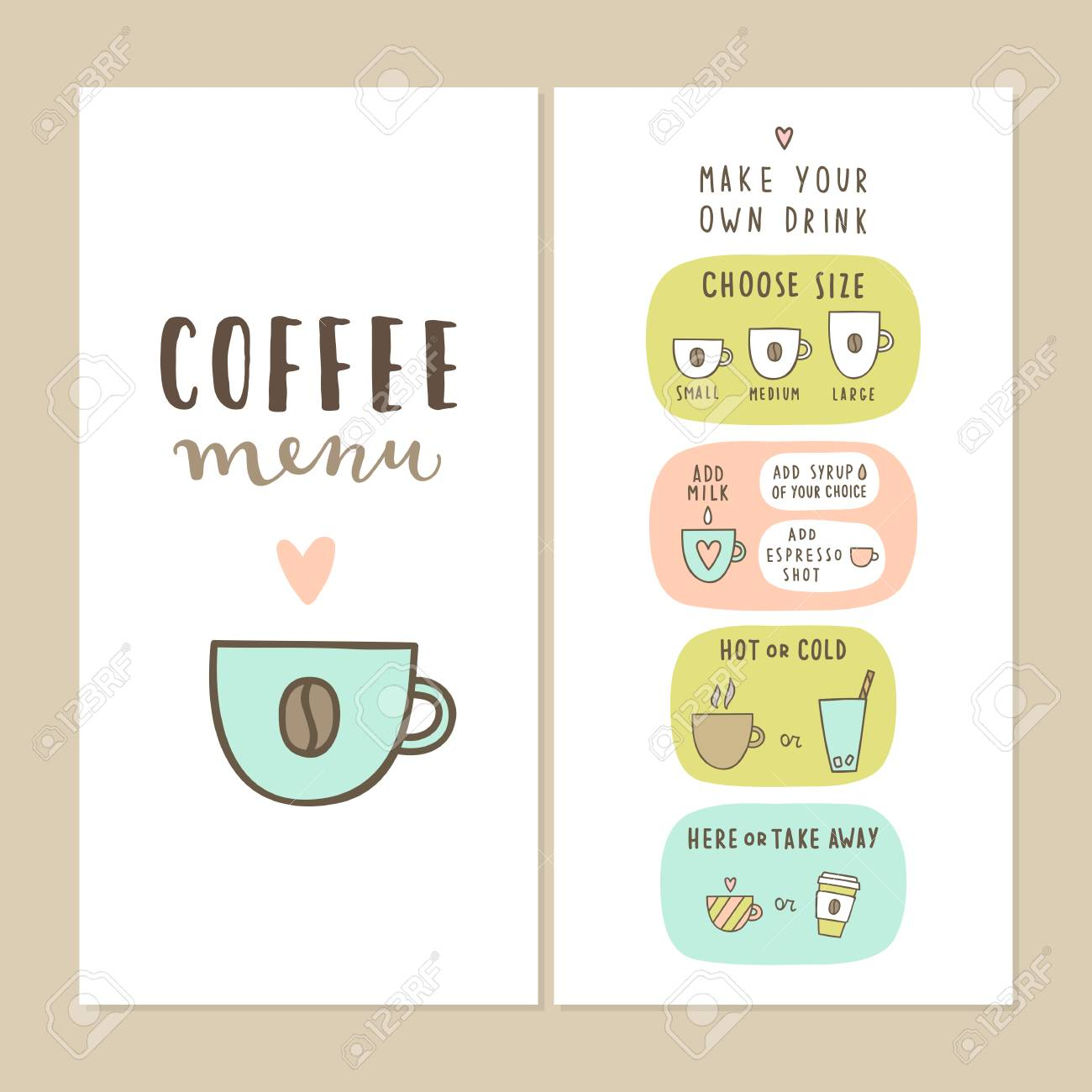 coffee bar menu template make your own drink can be used for