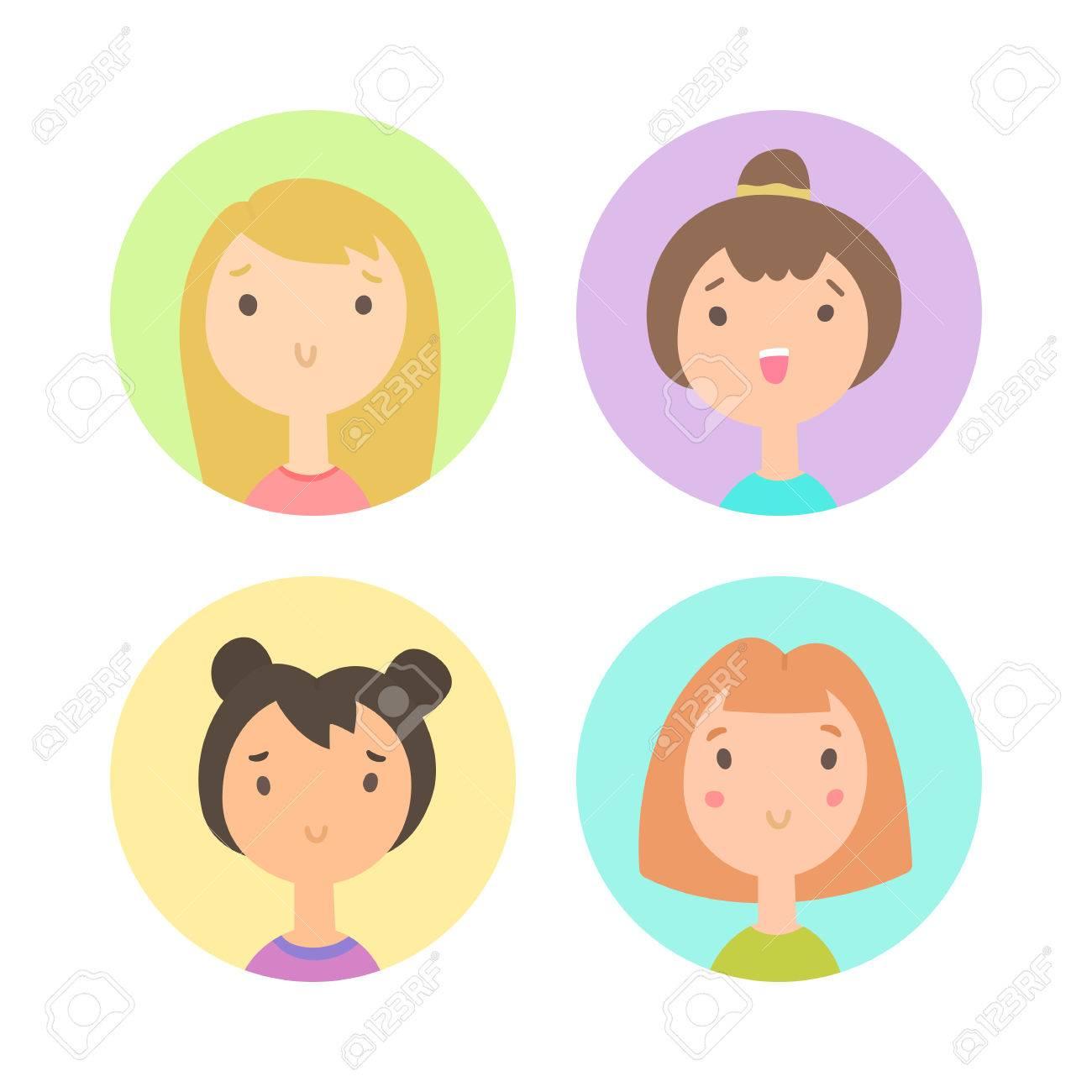 set of four girls faces vector hand drawn cartoon illustration