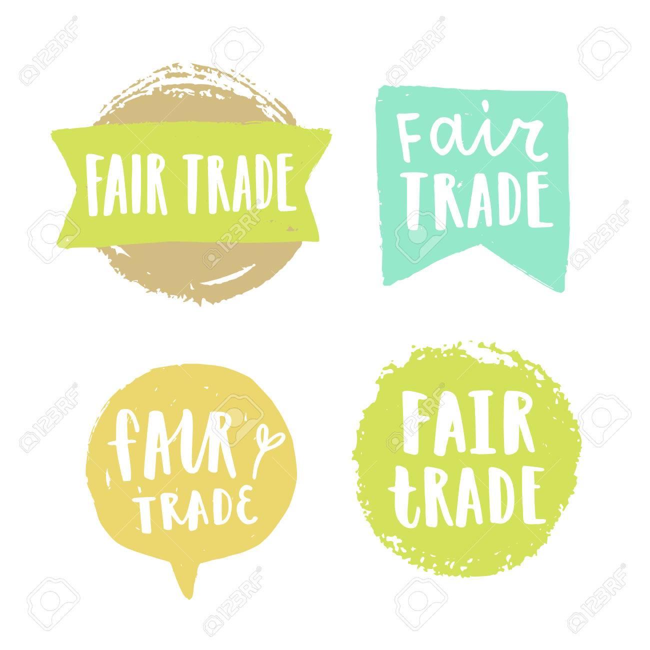 f331f2cbe618 Banque d images - Insignes dessinés à la main commerce équitable. Signes de  vecteur isolés sur blanc.