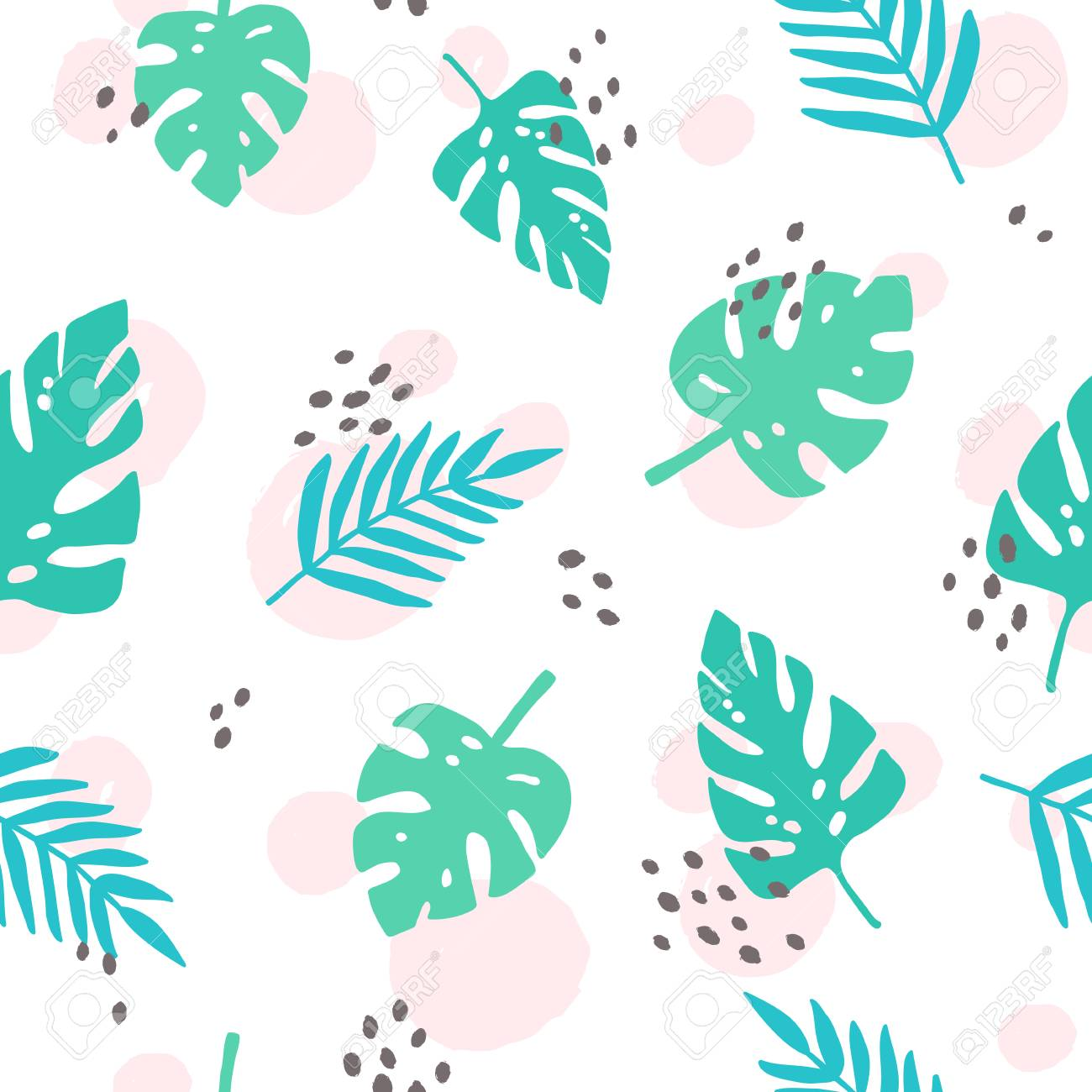 Cute Tropical Palm Leaves Vector Seamless Pattern Stock Photo Picture And Royalty Free Image Image 89987400
