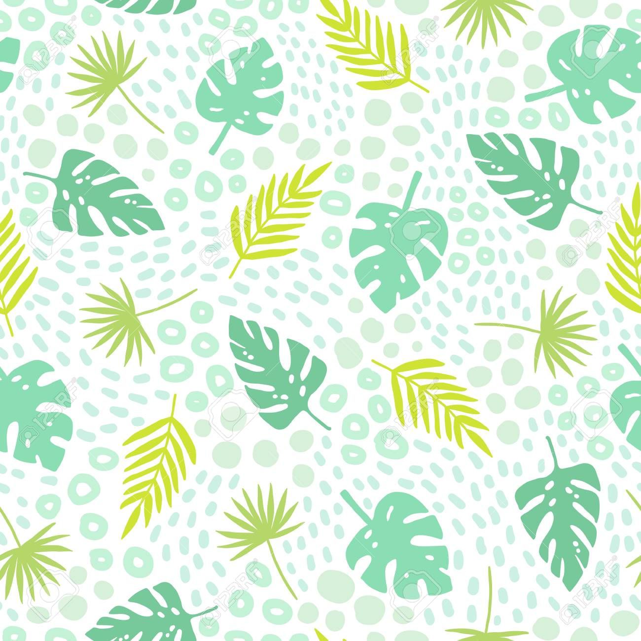 Tropical Palm Leaves Seamless Pattern Cute Cartoon Style Vector Stock Photo Picture And Royalty Free Image Image 92482790