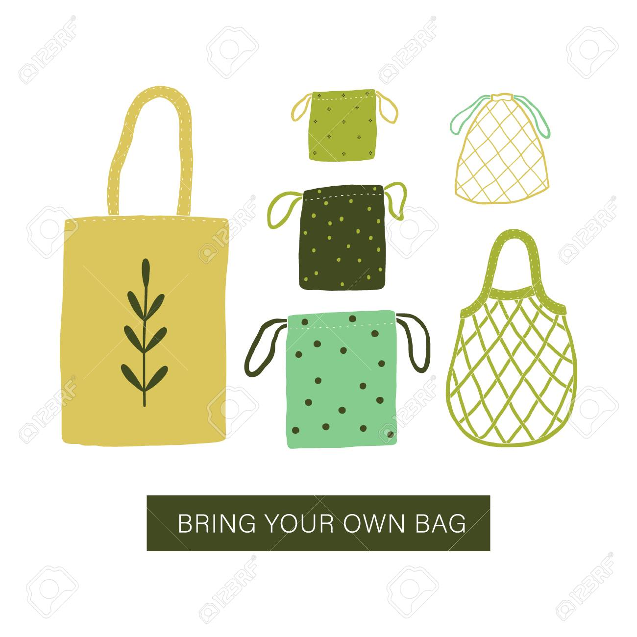 Bring your own bag. Zero waste bags. Vector illustration - 124003441