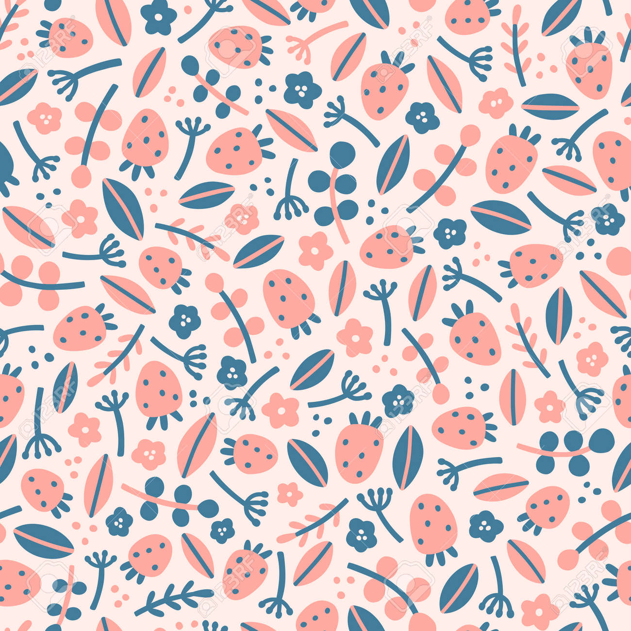 Cute strawberries and leaves. Vector hand drawn seamless pattern - 168951007